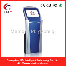 Free standing lottery ticket printing kiosk with cash acceptor