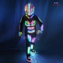 Wireless DMX512 LED Robot Costumes with helmet, Design 1 piece robot costume