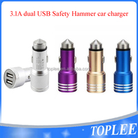 Premium 5V 3.1A Dual USB-Port Car Charger for iphone 6 6s Stainless Steel Safety Hammer