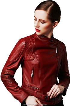 Womens Biker Wine Short Leather Jacket