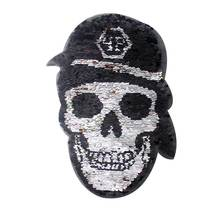 Skull PVC Patch Reversible Sequin Fabric For Accessories Patch