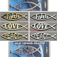 the Jesus Fish Ichthys Symbol with Love Center Car Sticker 5 Inch Auto Emblem /love fish emblem,peace fish,faith fish emblem