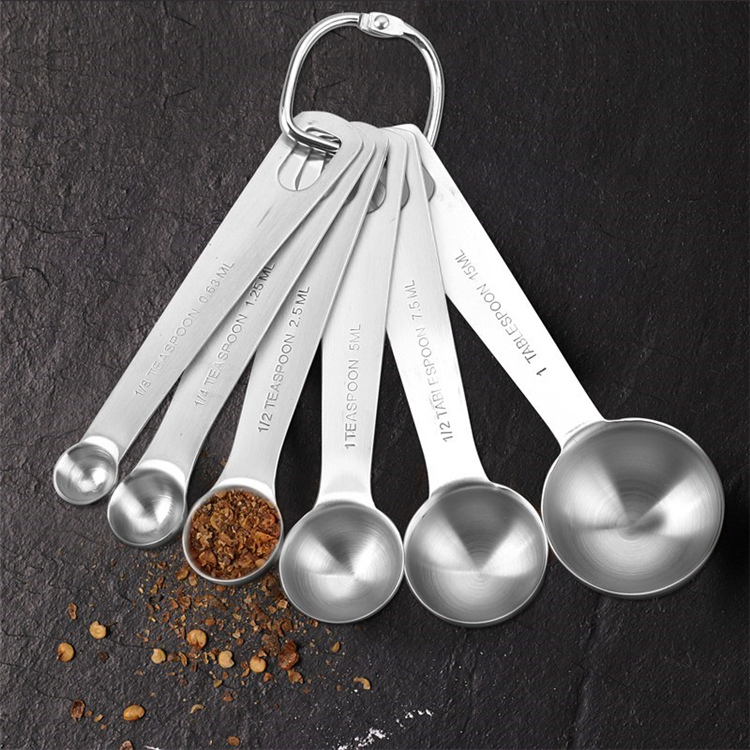 6 pieces stainless steel measuring spoon set