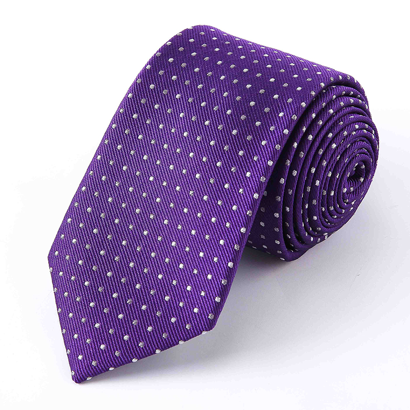 Custom Pattern 100% Silk Woven Purple Polka Dot Neck <strong>Ties</strong> for Mens Accessories