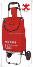 Foldable 600D polyester shopping trolley bag / Shopping bag trolley with two wheels
