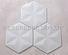 HS6B Beveled Glass Mosaic Kitchen Wall Decoration Hexagon Tile