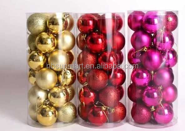Christmas bulbs in plastic tube