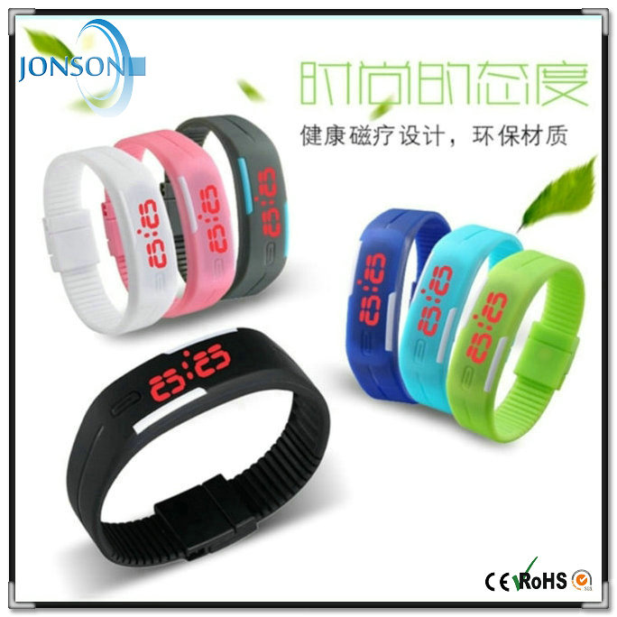 Promotional sales LED digital silicone waterproof rubber ion sports wristband watch