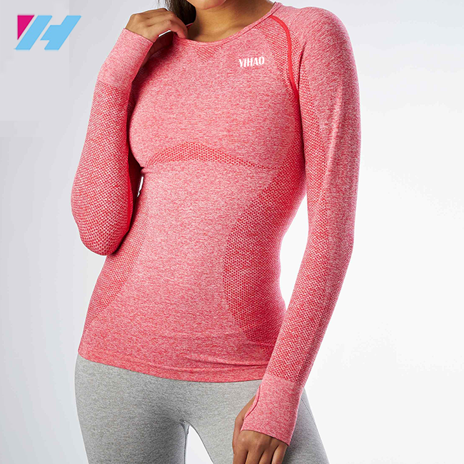 Woman fitness wear Custom design slim fit Gym T Shirt seamless style long sleeve tee ladies training t shirt seamless