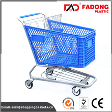 four wheel folding plastic shopping food cart with metal stand