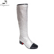 Fashion 2017 Hot Sale Silver Glitter Patent Leather Zipper Heels Shiny Boots Winter Knee High Girl Shoes Combat Boots For Women
