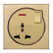 British standard electric Wall switch 1 gang+MF socket painting color with LED light champagne gold/Customized