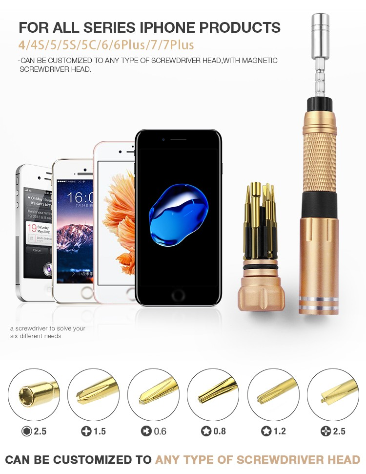 BAKU ba-7276 New product 6 in 1 mini tool precision magnetic offset torx screwdriver set for iPhone and other mobile phone