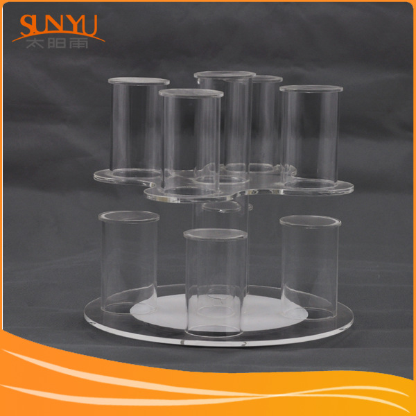 Clear Acrylic Tube Bracelet Display Rack With Rotating Base