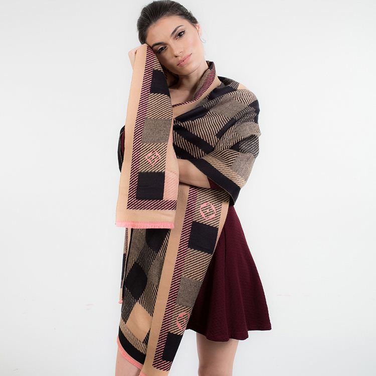 2017 plaid pattern single-side women's pashmina shawls scarf