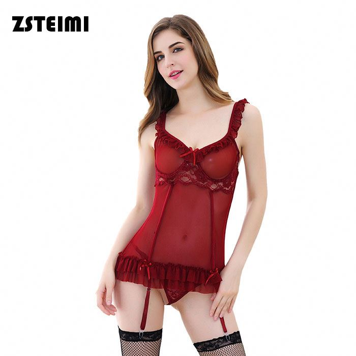 2017 China Supplier Red Flounces Garter Lingerie Hot Girls In Tight Underwear