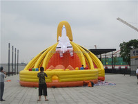 giant outdoor playground inflatable obstacle course with slide for commercial use