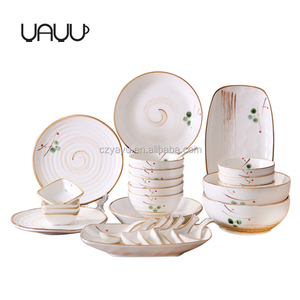 Handpainted ink-wash design 18pcs elegance fine porcelain dinner set