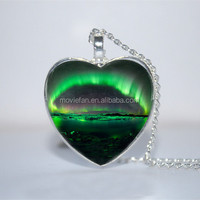 Northern Lights Heart Pendant, Northern Lights necklace Glass Photo Cabochon Necklace