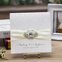 Luxury Flocked Rhinestone Brooch Embellished Boxed Wedding Invitations