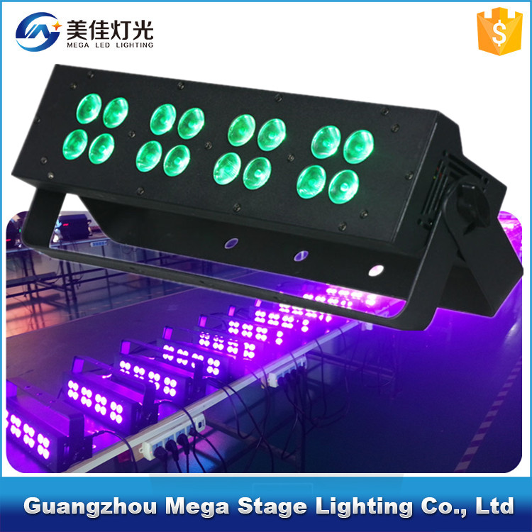 Mega disco dj dmx512 16 x 3w rgb 3in1 led stage lights bar