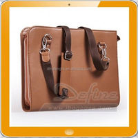 Deluxe Organizer Shoulder Strap pu leather portfolio folder bag