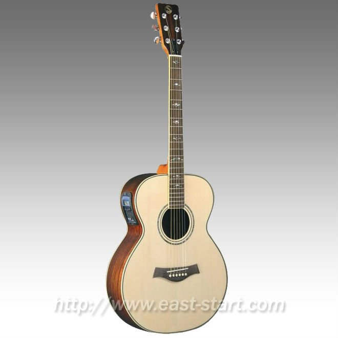 Handmade Grand Concert Style High End All Solid Electric Acoustic Guitar