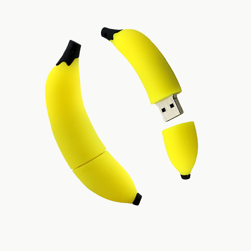 Bulk Banana USB Disk Customized Shape PVC USB Flash Drive for Promotion