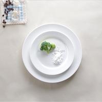 Wholesale flat round porcelain plate/bulk cheap plain white ceramic dinner plate for restaurant hotel