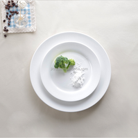 Wholesale flat round porcelain plate/bulk cheap plain white ceramic dinner plate for restaurant hotel
