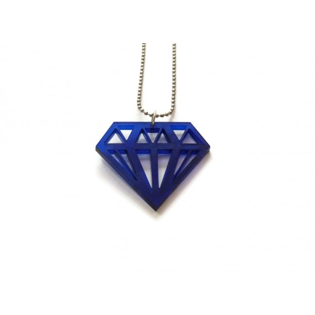 Blue acrylic diamond pendant necklace hanging craft