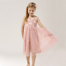 X01913 hot sale pink lace net girl dress cute butterfly girl party wear western dress