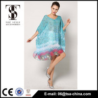 Wholesale peacock print women 2015 new design long cover up beach dress