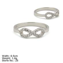 RZA5-001 Rhodium Plated Silver Ring 925 Sterling Silver Jewelry with CZ Stone Infinity Shaped Ring