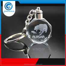 3D Laser Engraved Brown Bear Octagonal Crystal Led Key chains Photo Led Crystal Key chain
