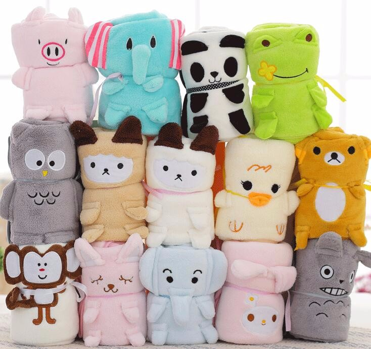 Soft keep warm animal shape plush blanket for kids