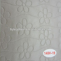 new white flower pattern leather for decorative materials