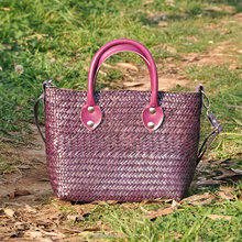 Hot selling cheap ladies handbag thailand straw bag summer beach bag