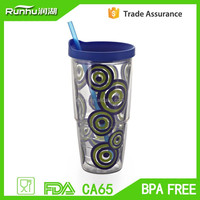 LFGB tested made in china plastic cup with grip can be used in car for cold drink RH117-24