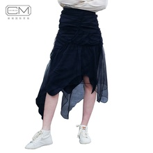 High street summer asymmetrical ruffles tulle mesh black midi women <strong>skirts</strong>