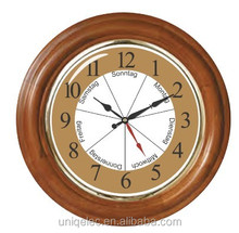 Week wood wall clock for elderly