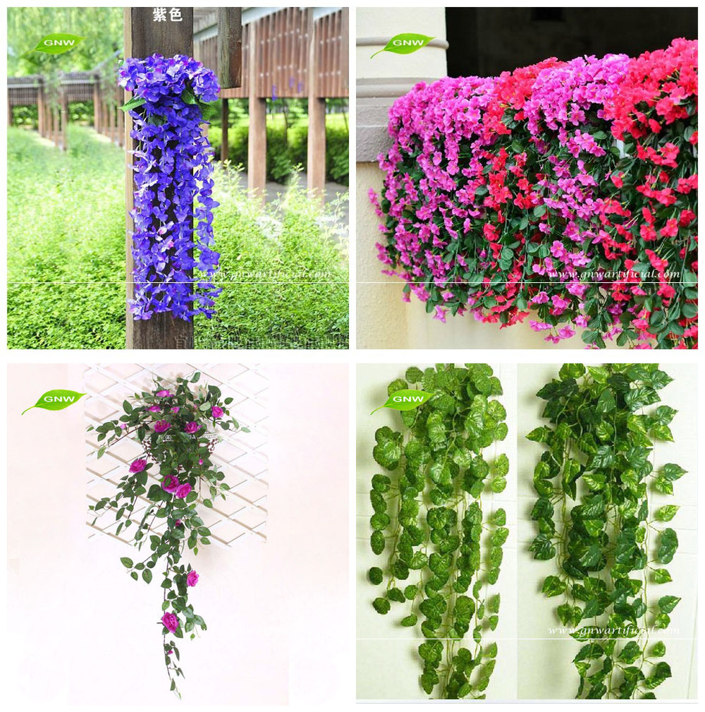GNW FLV014 Plastic Artificial Ivy Leaves Vine Hanging for House Wall and Roof