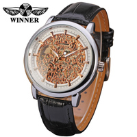 T-winner Trade Assurance New clock With Leather Band Luxury skeleton Watches for Men Best Gift buy chinese products online