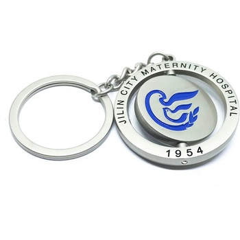 Custom your logo rotating 360 metal Keychain enamel keyring for hospital
