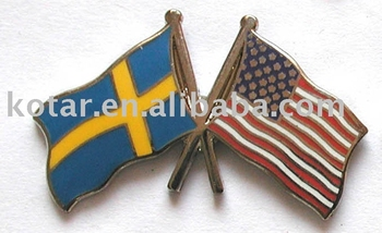 custom sweden and america flag lapel pin