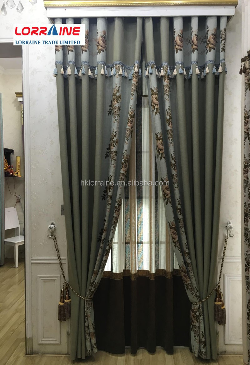 Hot Sell 100% Polyester Faux Linen Solid Curtain home textile living room curtains finished