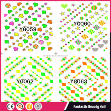 Hot Sale colorful heart fluorescent Water Nail Tattoo art designs Nail Art Sticker For Wholesale