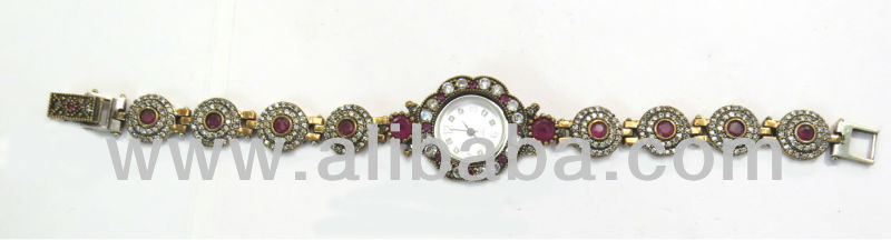 Sterling silver wrist watch with stones