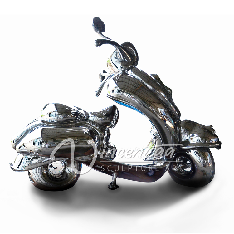 modern city decoration metal motorcycle stainless steel sculpture