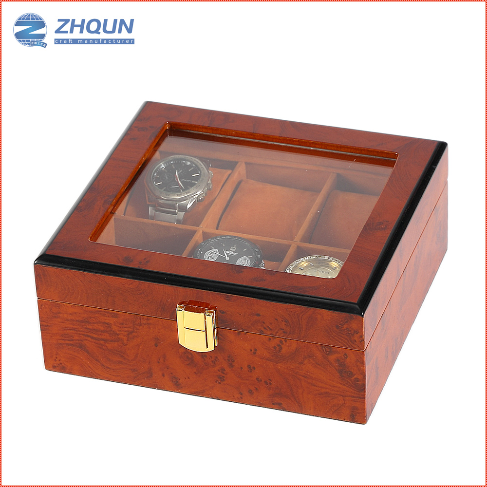 Custom 6 wholesale wood lacquered smart watch display box